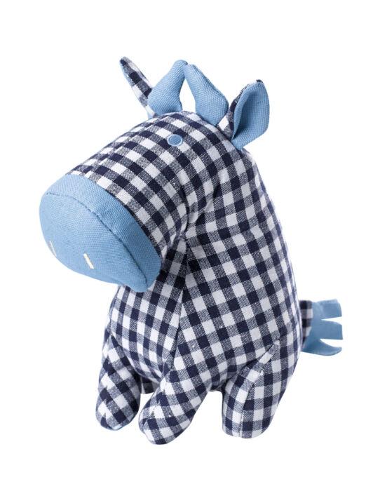 Hundespielzeug Check Cow von Hunter in blau-weiß kariert